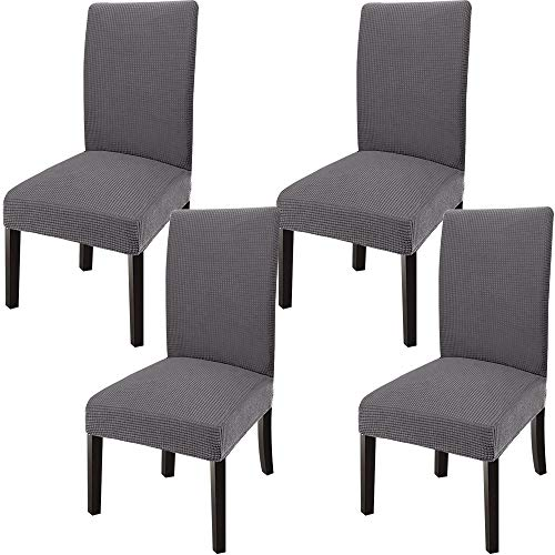 GoodtoU Chair Covers for Dining Room Chair Slipcover Stretch Chair Slipcovers for Dining Room, Kitchen(Set of 4, Gray)