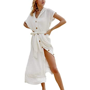 Swimsuit Cover Ups Womens Button Down Cotton Linen Beach Shirt Short Sleeve Collar Neck Kimono Cardigan With Belt 8392 White At Amazon Women S Clothing Store