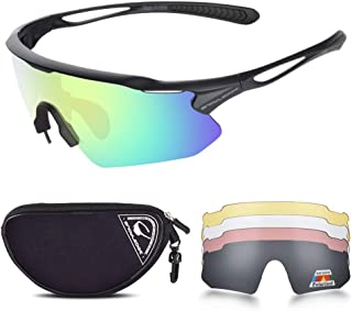 SNOWLEDGE Cycling Glasses Men Women, Polarized Sport Sunglasses with 5 Interchangeable Lenses and TR90 Superlight Frame fo...