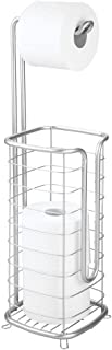 mDesign Metal Free Standing Toilet Paper Holder Stand and Dispenser, with Storage for 3 Spare Rolls of Toilet Tissue While Dispensing 1 Roll for Bathrooms/Powder Rooms - Holds Mega Rolls - Chrome