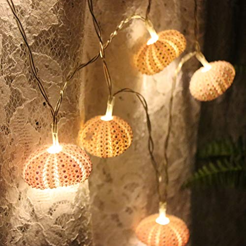 Christmas Lights Pink Sea Hedgehog Lights Fairy LED Shell Natural Wedding and Christmas Wall Decoration Handmade Party Supplies