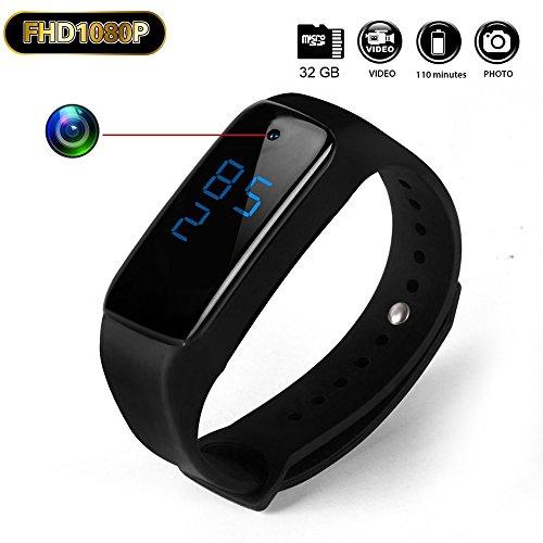 Ocultar HD Mini DV 1080P Cámara Espía recargable Pulsera deportiva reloj pulsera videocámara de vigilancia con la función de vibrar@Laing