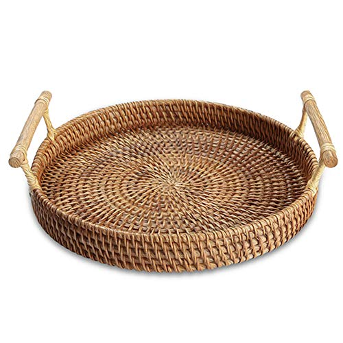 Handmade Rattan Round Woven Basket, Round Serving Tray with Handles, Food Serving Baskets, Basket, Great To Display Bread Or Fruit (11', 1pc)