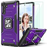 Note 10 Case Samsung Galaxy Note 10 case,with 3D Curved HD Screen Protector[2 Pack],AYMECL 2 in 1 Heavy Duty Protection case,with Kickstand,for Samsung Note 10 5G-Purple