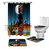 HGFHKL Cortina de Ducha de Noche de Cactus del Desierto para Mujer Africana, Juego de Fundas para Asiento de Inodoro,...