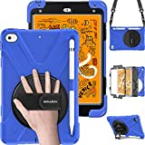 BRAECN iPad Mini 5/4 Shockproof Case, [Pencil not Included] Hybrid Armor iPad Case with Hand Strap/Kickstand/Pencil Holder/Carrying Shoulder Strap for iPad Mini 5 2019/iPad Mini 4 2015 for Kids-Blue