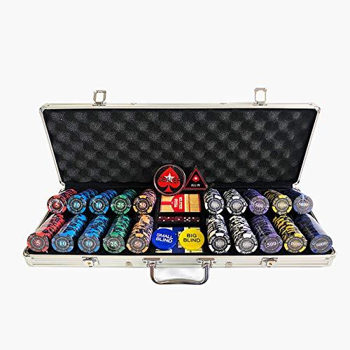 Juego de Póquer Profesional de 300 o 500 Fichas (14 g) Juegos Completos de Juego de Póquer con Fichas, Cartas, Dados, Estuche de Aluminio y Llaves Estilo Casino