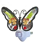 Butterfly Stained Glass Night Light Flower in Glass with Metal Trim Butterfly Night Light Nursery Bedroom Bathroom Decorative Accent Lite Elegant Home Decoration, Guardian Butte (Multi-Colored)