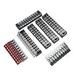 5PCS Set Tablero de cableado de tira de bloque de terminales de barrera de tornillo de doble fila 25A 10 Bloques de terminales de tornillo de interfaz W - Negro y rojo