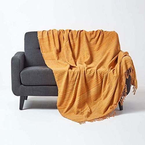 Homescapes Chenille-Tagesdecke, rost-orange, Wohndecke 220 x 240 cm, Sofaüberwurf/Plaid aus 100prozent Baumwolle mit Fransen, orange gestreift