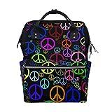 LINDATOP - Mochila para pañales para mamá, signo de paz, gran capacidad, bolsa de pañales para bebé, multifunción, mochila de viaje