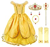 JerrisApparel Niña Princesa Belle Disfraz Tul Fiesta Trajes Vestido (5 años, Amarillo 1 con Accesorios)