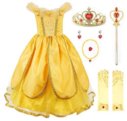 JerrisApparel Nia Princesa Belle Disfraz Tul Fiesta Trajes Vestido (3 aos, Amarillo 1 con Accesorios)