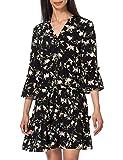 VERO MODA Damen VMSIMPLY Easy 3/4 Short Dress WVN GA Kleid, Black/AOP:OLINE, L