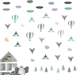 IARTTOP Cute Woodland Wall Decal,Hot Air Balloon,Tent,Lifebuoy,Tree,Clouds Wall Sticker for Kids Room Nursery Wall Decorations