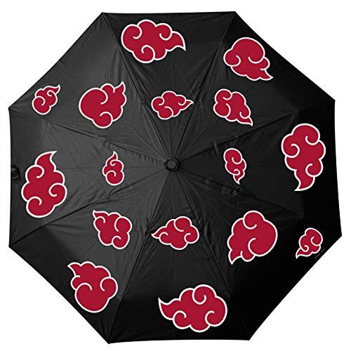 Naruto Shippuden Automatik Regenschirm Akatsuki Logo schwarz, Bedruckt, aus Kunststoff, in Kuppelform.