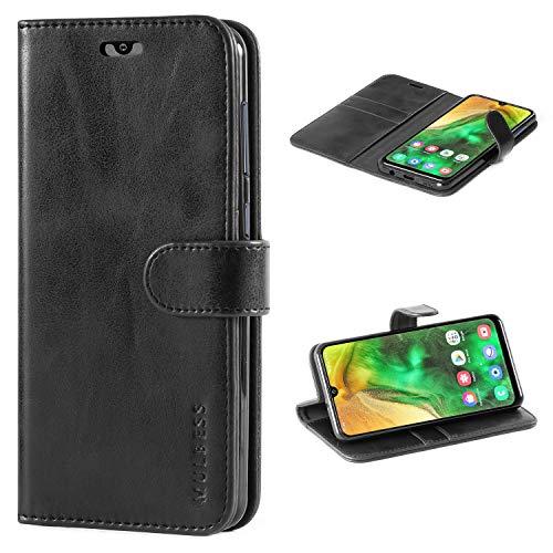 Mulbess Handyhülle für Samsung Galaxy A50 Hülle, Leder Flip Hülle Schutzhülle für Samsung Galaxy A50 / A30s / A50s Tasche, Schwarz