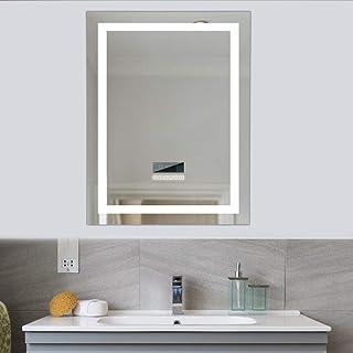 Turefans Espejo baño Espejo baño con luz Audio Bluetooth Pantalla LCD (Fecha Hora Temperatura) antivaho 2 Colores (...