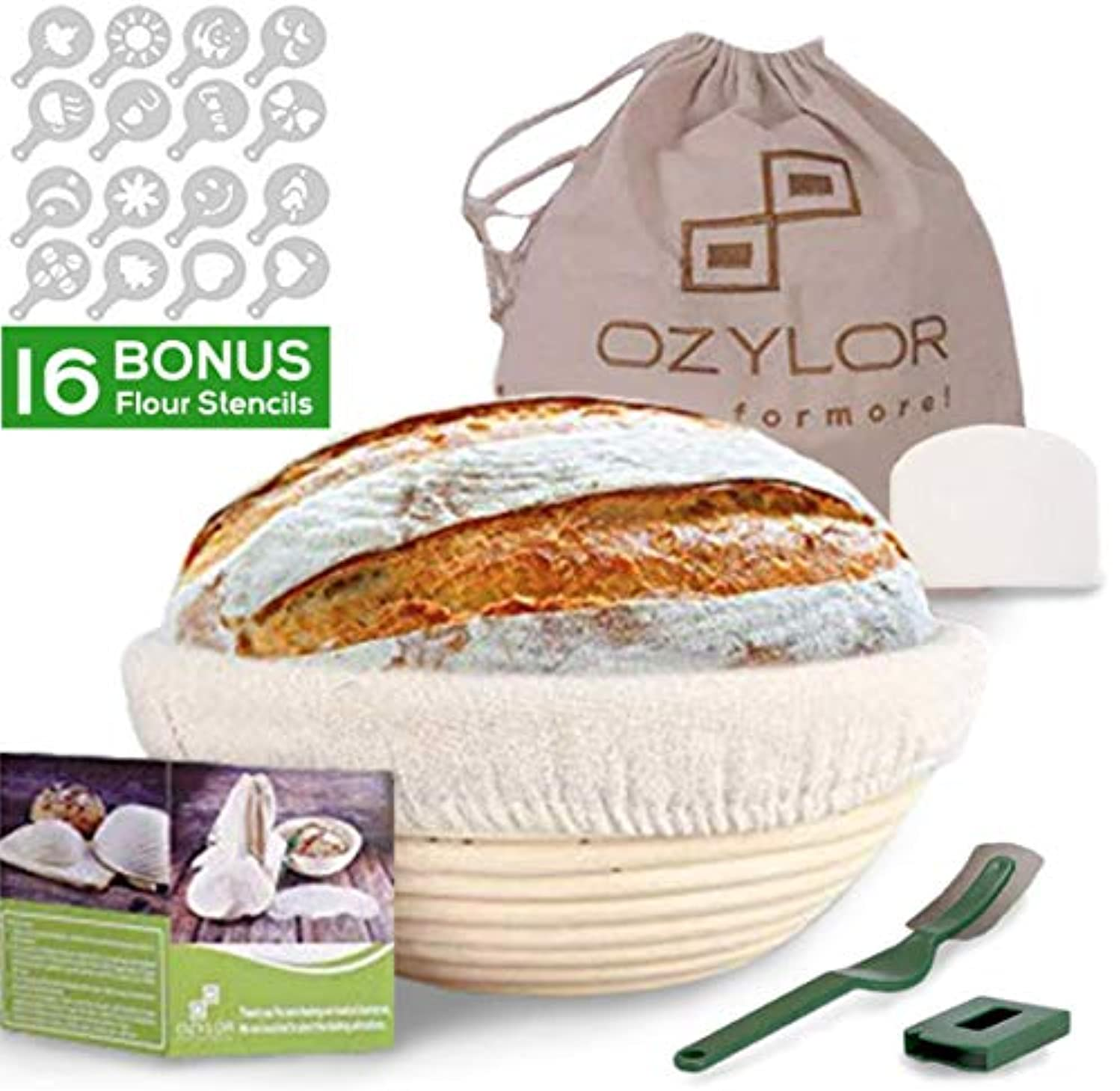 10inch Banneton Proofing Basket Set – Complete Bakers Kit of Round Bread Basket with Liner, Dough Scraper, 16 Flour Stencils, Bread Liner, Storage Bag - Bread Lame for Artisan Bakers and Home Use