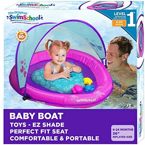 SwimSchool Infant Baby Pool Float with Splash Play Activity Toys Adjustable Sun Canopy Perfect product image