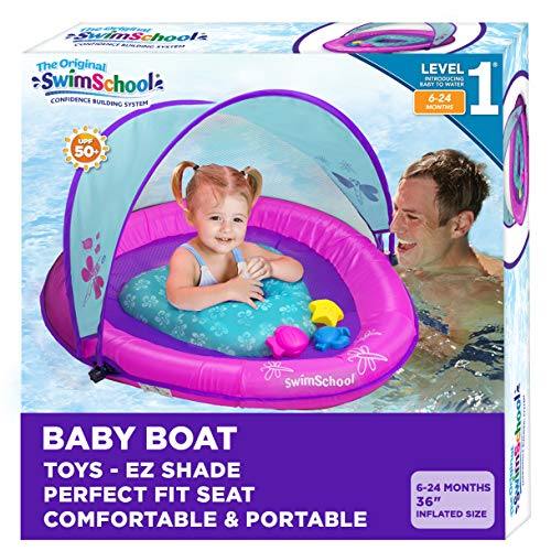 SwimSchool Infant Baby Pool Float with Splash & Play Activity Toys, Adjustable Sun Canopy, Perfect-Fit Safety Seat, Infant Baby Floatie, 6 - 24 Months, Pink/Aqua