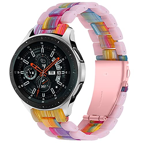 TechCode Galaxy Watch 3 45mm Bands Women, Premium Resin Bracelet Wrist Bands with Stainless Metal Buckle Linked Replacement Strap Accessories for Garmin Vivoactive 4/ Galaxy Watch 46mm/ Gear S3 (C01)