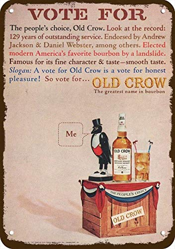 Laptopo 1964 Old Crow Bourbon Whiskey Vintage Look Replica Metal Sign -Vote for Old Crow