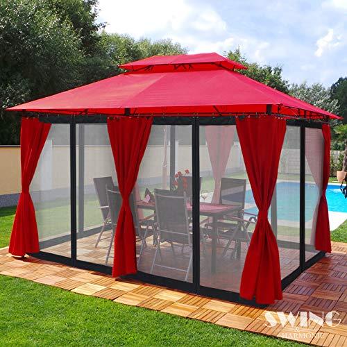 Swing & Harmonie Luxus Pavillon 3x4m Minzo - inklusive Seitenwände Gartenpavillon Partyzelt Gartenzelt (mit Moskitonetz, rot)
