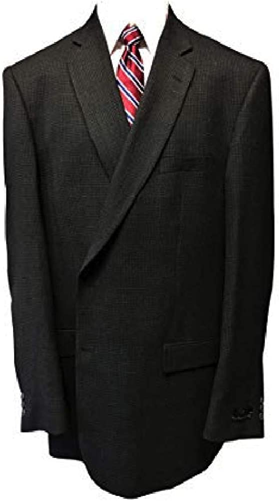 Jean-Paul Germain Big and Tall Blue Grey Micro Check 100% Wool Sport Jacket