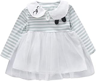 Baptism Gifts for Baby Girl,Infant Baby Girl Long Sleeve Cartoon Rabbit Striped Tulle Princess Dress Clothes