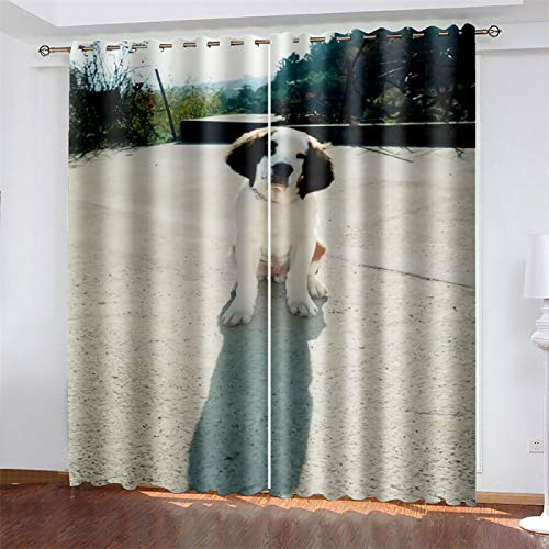 YUNSW 3D Digital Printing Curtains For Bedroom And Living Room, Polyester Blackout And Noise Reduction Curtains, Dog Curtains With Perforations (Total Width) 234x(Height) 230cm