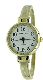 Women's Classic Dainty Easy Read Gold Tone Bangle cuff Watch