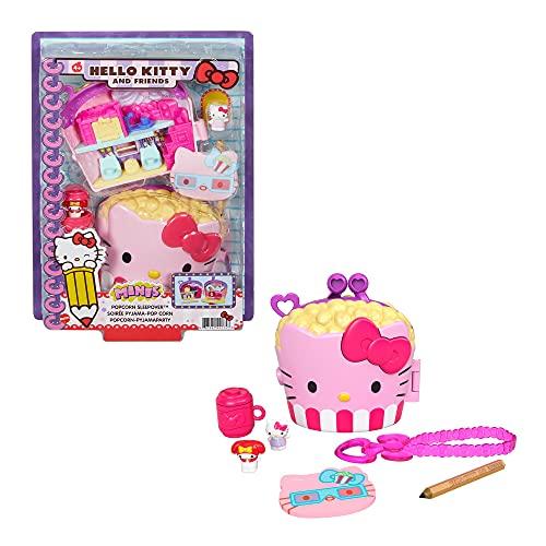 Hello Kitty Cofre con forma de cubo de palomitas con muñecos y accesorios de juguete (Mattel GVB32)