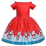 beautyjourney Vestiti Ragazze Natale Elegante Sera Invernali Cerimonia Vestito Ragazze Natale Abiti Bambine Natale Abito Ragazze Santa Claus Bambini Manica Lunga Bambino Natalizio