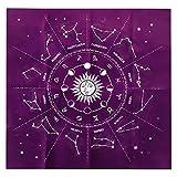 Mantel de Tarot 50cm, Afaneep Mantel de Tarjeta Runa 12 Constelaciones Mantel Astrología Franela Tarot Adivinación Mantel Tapiz