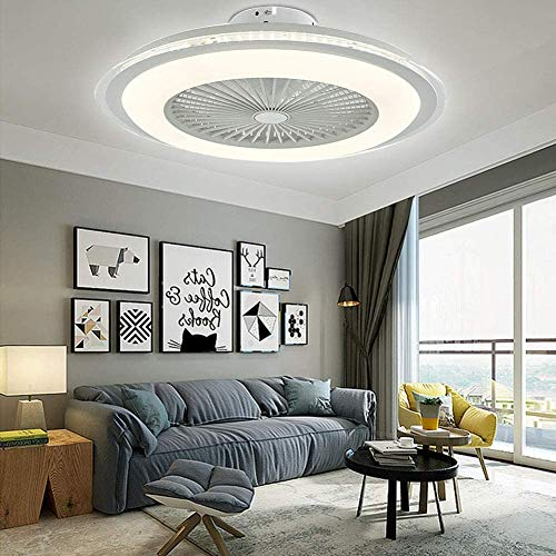 Orillon Ceiling Fan with Lights for Indoor Kitchen Bathroom Bedroom, 24'' White Modern LED Semi Flush Mount Low Profile Fandelier Ceiling Fan and Remote Control, 7 Hidden Acrylic Blades