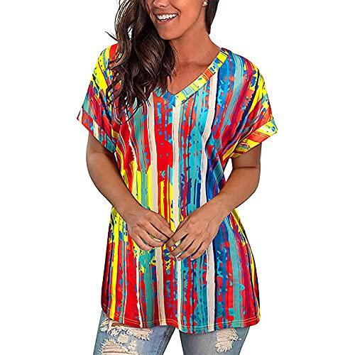 AMhomely Camisas y blusas para mujer con estampado de tiras y cuello en V, para verano, blusa de verano