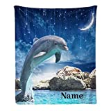 CUXWEOT Custom Blanket with Name Text Personalized Jumping Dolphin Soft Fleece Throw Blanket for Gifts (50 X 60 inches)
