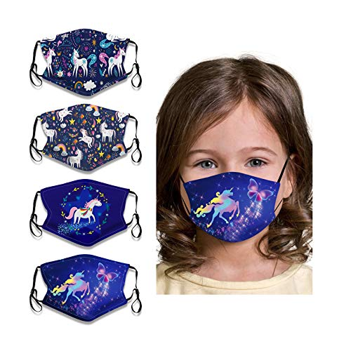 VANGETIMI Kids Boys Girls Cartoon Unicorn Face Bandana Reusable Breathable Cloth Face Protector Washable for Winter Christmas Party(4 Pack)