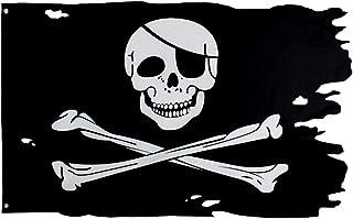 FLAGLINK Jolly Roger Flag 3x4.8fts Crossbone Old Skull Bones Pirate Banner Creepy Ragged