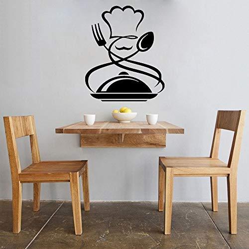Tianpengyuanshuai vinylstickers voor chefs, thuisdecoratie, muurstickers, raamdecoratie, wandsticker, kamerdecoratie, hoed, snor, lepel, vork