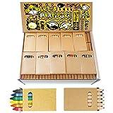 Sets de 20 Cajas de Ceras Infantiles y 20 Cajas de Lápices de Colores Partituki. 6 Crayons por Caja. 240 en Total. Ideal Fiesta de Cumpleaños Infantiles, Recuerdos de Bodas y Colegios