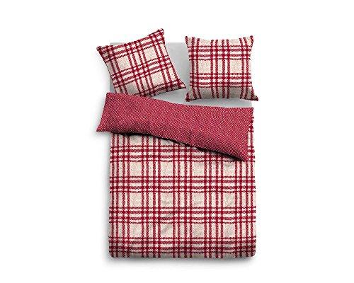 TOM TAILOR Flanell Bettwäsche rot 80x80 + 155x220 cm (9814-811) Biber l Rot Weiß l Streifen-Muster