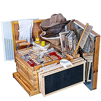 Beehive Starter Kit 8-Frame Bee Boxes and Frames Starter Kit Wax Coated Bee Hives and Supplies Starter Kit Including Beekeepig Tools Kit with Beekeeping Veil