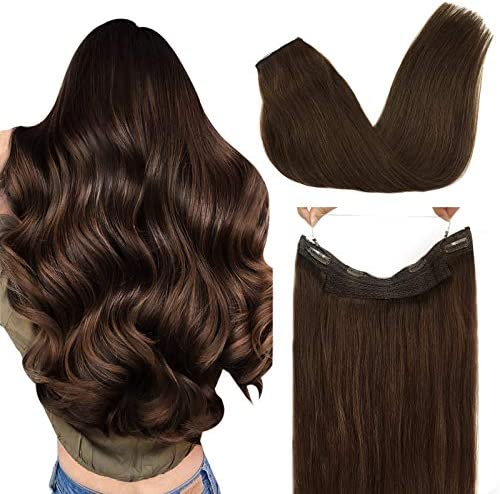 GOO GOO Hair Extensions Human Hair Chocolate Brown 80g Halo Hair Extensions 18 Inch Straight product image