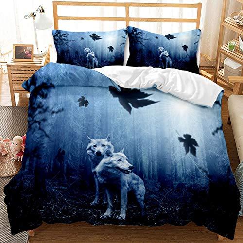 Ylight Ropa de Cama de Lobo Azul, edredón con patrón Natural de Animales Salvajes, Adecuado para Personas a Las Que Les Gustan los Animales Salvajes