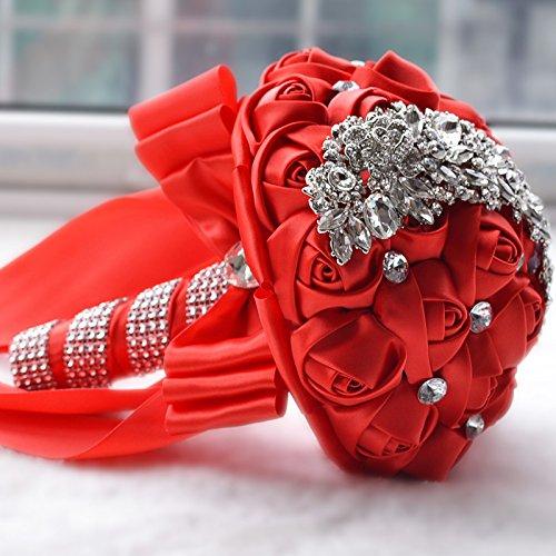 Ruimin Fleur Mariage bouquets de mariée de luxe de rose en strass Broche Bouquet de décoration de mariage
