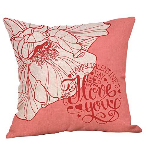 Yvelands Saint Valentin Style Lin Carré Taie d'oreiller Imprimé Romantique Doux Coussins Lombaires Coussins RelèVe-Jambes(H)