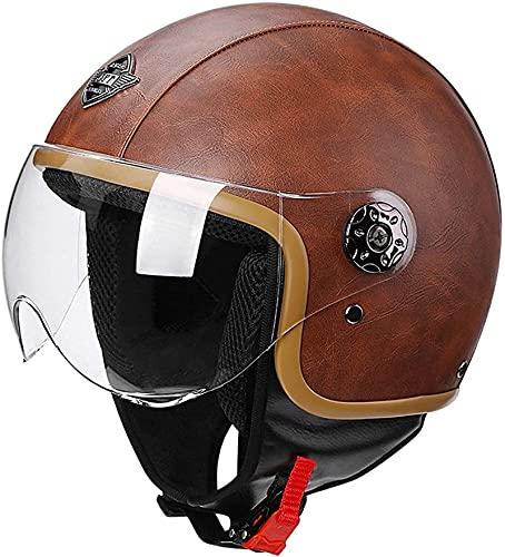 YCRCTC Medio Casco de Motocicleta Scooter Vintage para Mujer Cascos de Motocicleta de Cara Abierta Retro para Hombres con certificación Dot/ECE (Color : B, Size : XL)