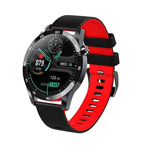 Reloj Inteligente Mujer Hombre,Monitorización de la temperatura corporal,oxígeno,frecuencia cardíaca y presión arterial,pulsera deportiva-Negro rojo,Pulsera de Actividad Inteligente Reloj Deportivo
